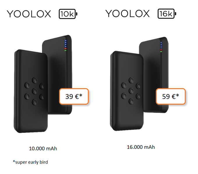 YOOLOX Powerbanks 10k and 16k