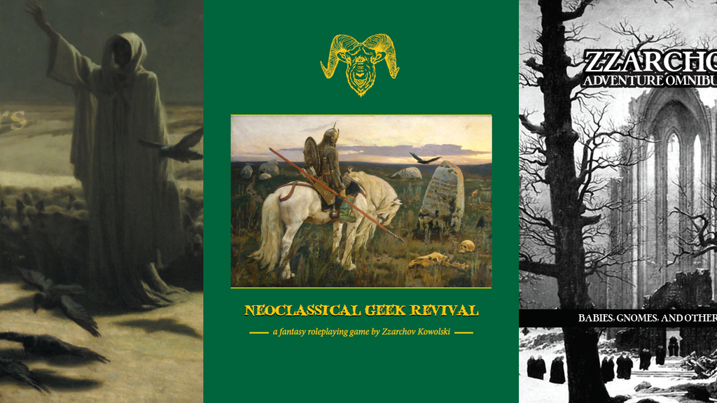 A trio of books for the Neoclassical Geek Revival Roleplaying Game