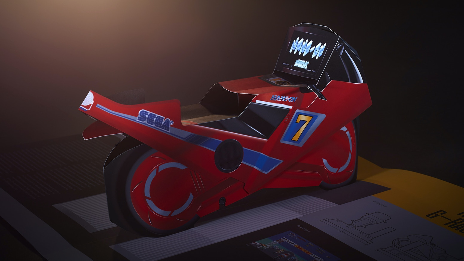 SEGA's greatest arcade cabinets as pop-up sculptures: Hang-On, Space Harrier, Thunder Blade, After Burner, Out Run, and Power Drift