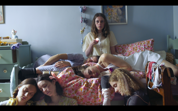 Ellie Goffe, Aisha Fabienne Ross, Louisa Harland, Sorcha Groundsell, Jenny Boyd and Allegra Marland in Sunday Tide