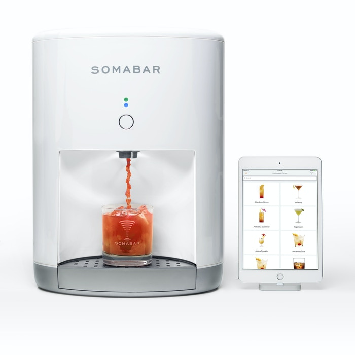 Somabar is a Wi-Fi connected robotic bartender.