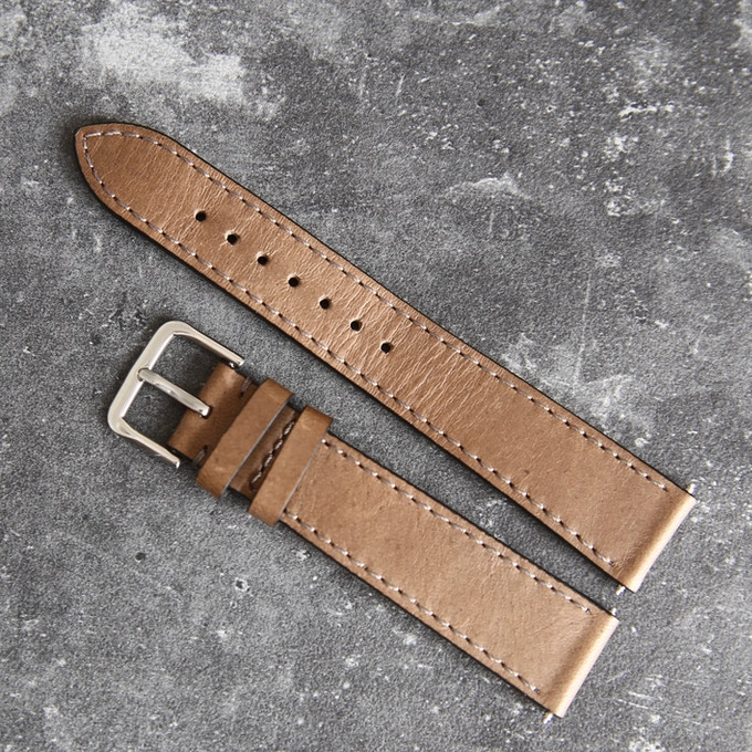 Italian natural leather strap . Taupe