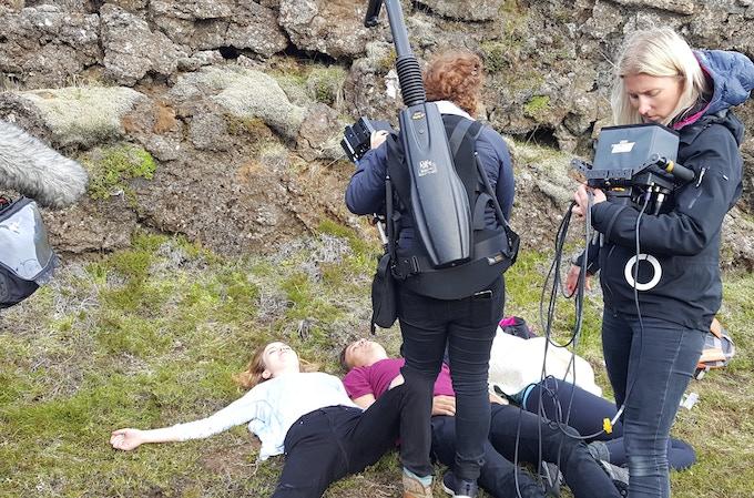 Irene Gomez Emilsson filming the final shot of the short film, Indigo Valley