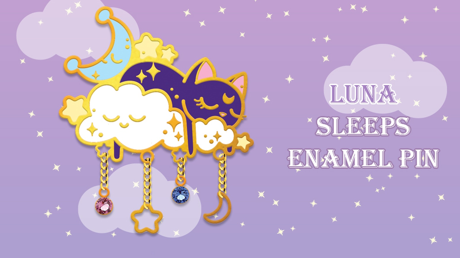 Gold plated with crystal gems and chains enamel pin of Luna the cat