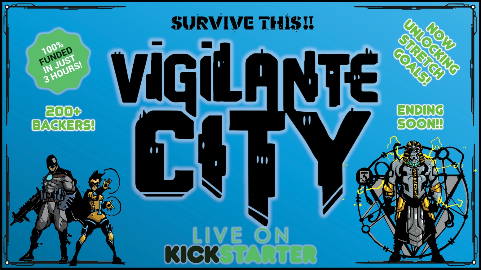 SURVIVE THIS!! Vigilante City is an RPG heavily influenced by the 90s cartoons Batman: The Animated Series, X-Men, Spider-man and TMNT!