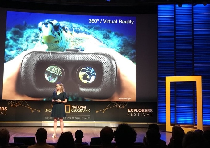 Marine biologist Dr. Erika Woolsey (Hydrous CEO, National Geographic Explorer, and Executive Producer on this project) presenting on the use of VR for ocean education at the National Geographic Explorers Festival in Washington DC, June 2018