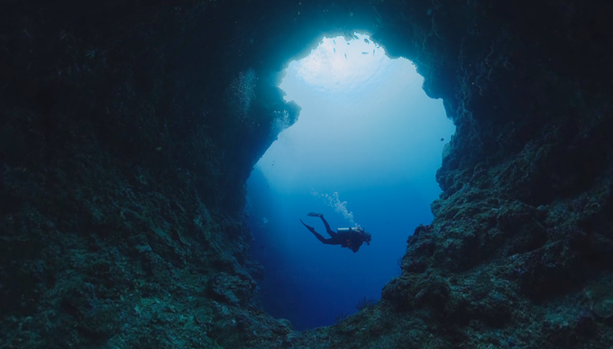 How often do you get to explore other worlds? (Still image taken from 360º video collected at Blue Holes in Palau.)