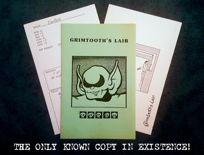 The only known copy of Grimtooth's Lair - now available as a reprint exclusively through this Kickstarter!