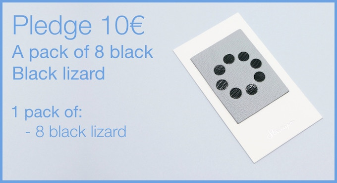 Pledge 10€ - A pack of 8 Leather Webcam Covers. 8 black lizard. LIMITED EDITION