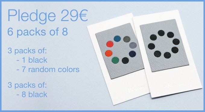 Pledge 29€ - 6 packs of 8 Leather Webcam Covers. 3 packs of random colors (including 3 black) and 3 packs of all black