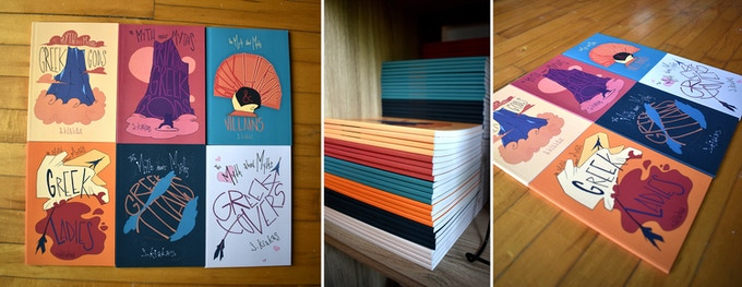 MiniZines previously printed for conventions!  Each of these are 5x7 inches and finished with velour laminate covers!