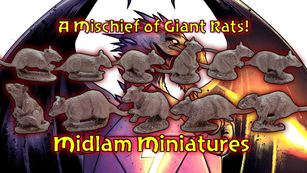 A collection of Giant Rat miniatures for your fantasy, horror and pulp games from Midlam Miniatures, sculpted by Bob Olley.