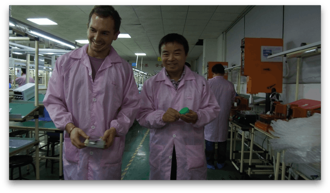 Tom with James at the main assembly factory in Shenzhen. Beeline Moto will be made in the same factories we've spent 2 years working with