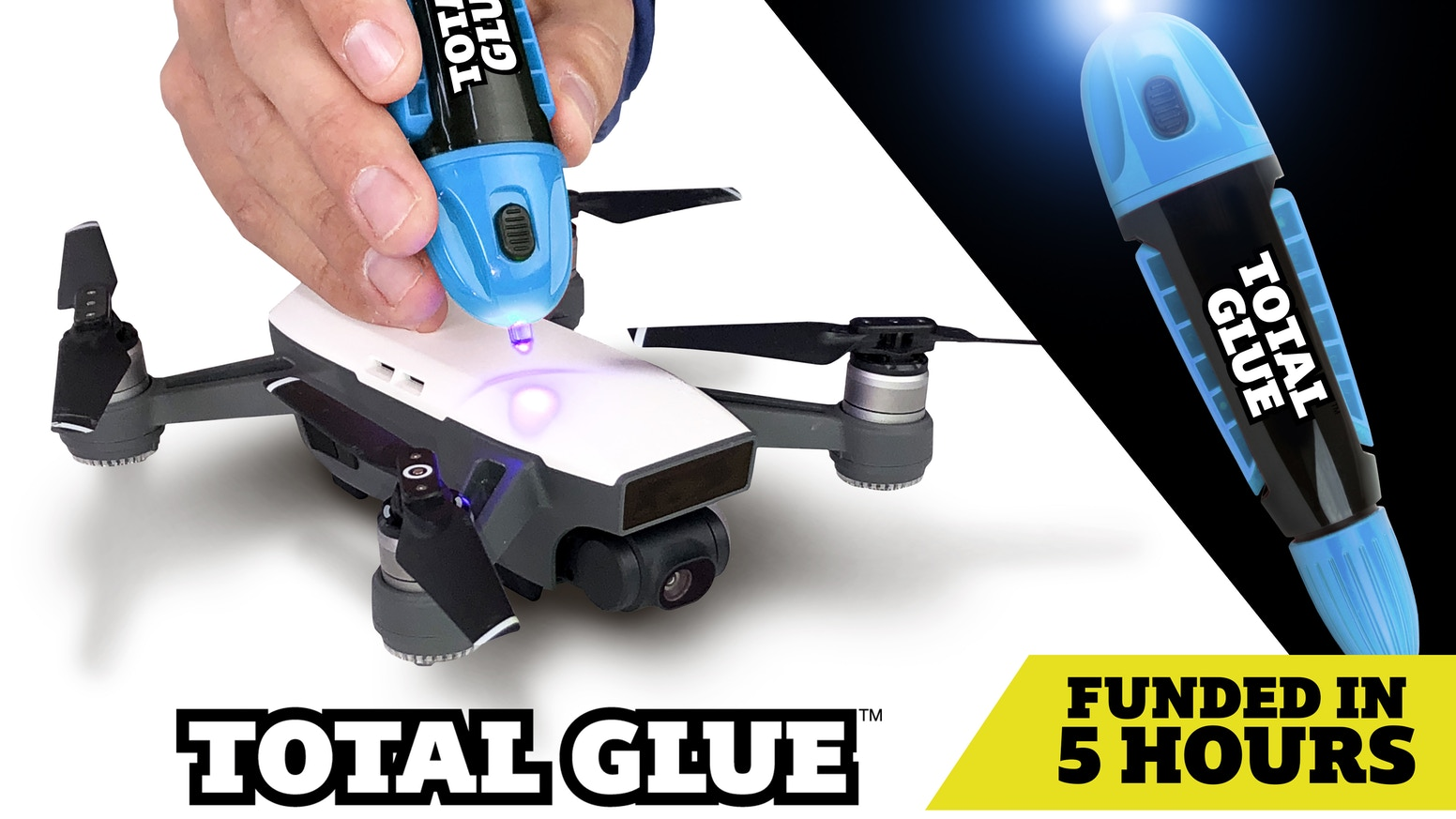 Super glue is dead! Total Glue's light-curing adhesive is 10X FASTER, fills gaps, and makes clean & precise repairs. It does it ALL!