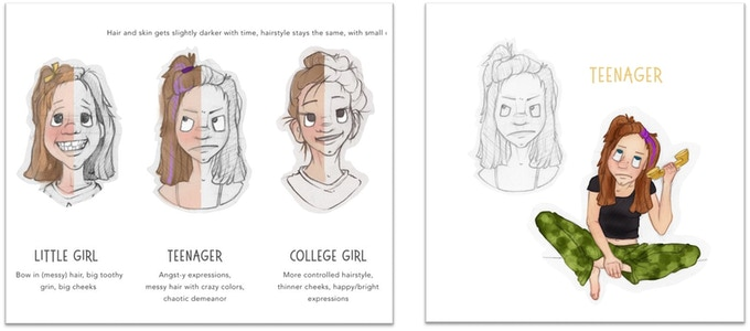 Progression of color sketch and illustrations.