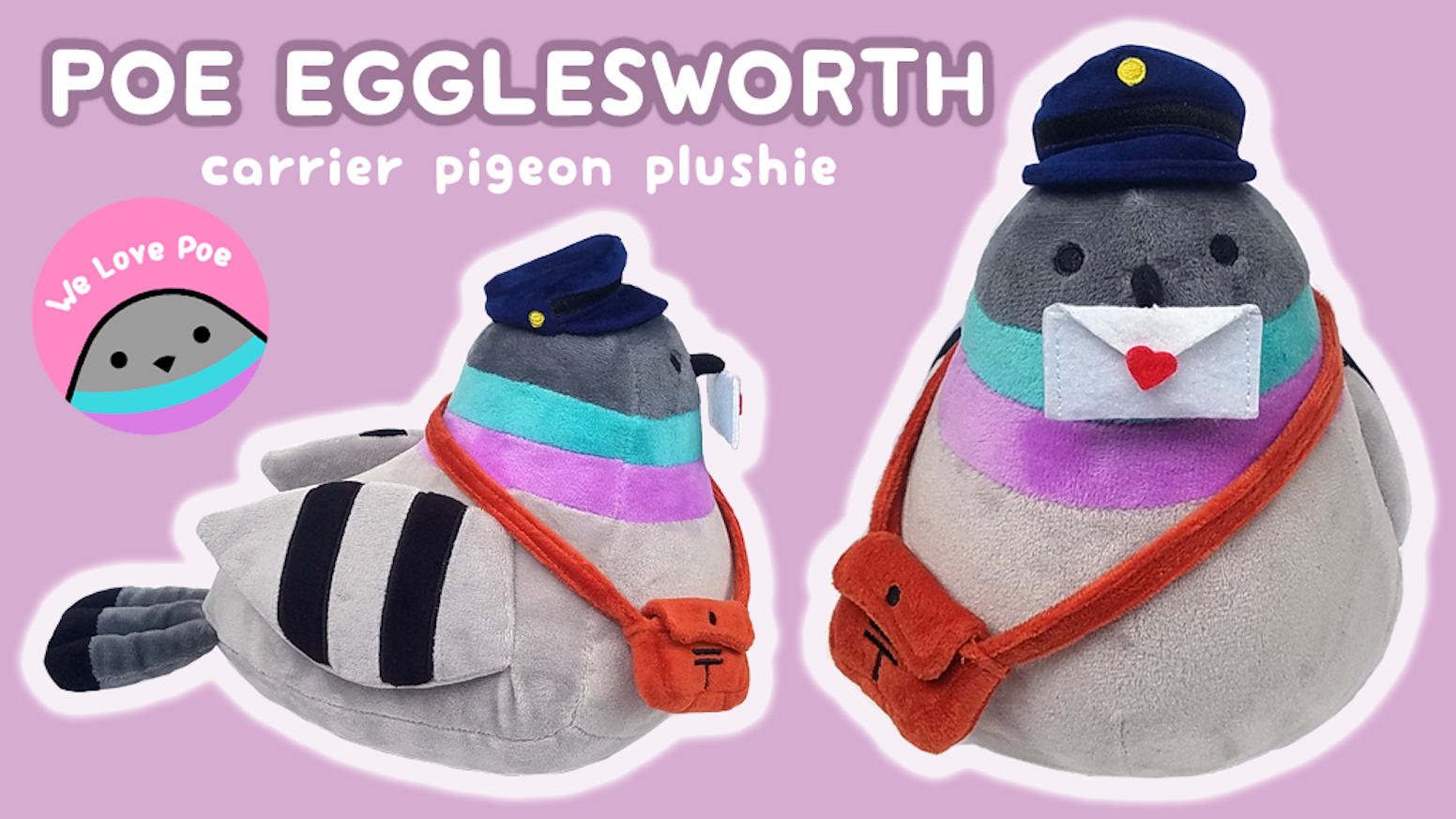 Adorable carrier pigeon plushie with delivery bag and a small letter! With enamel pin add-ons and stretch goals