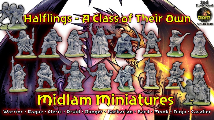 Halflings - A Class of Their Own - is a set of 16 Male and Female Miniatures of different Character Classes for all your Fantasy Games.