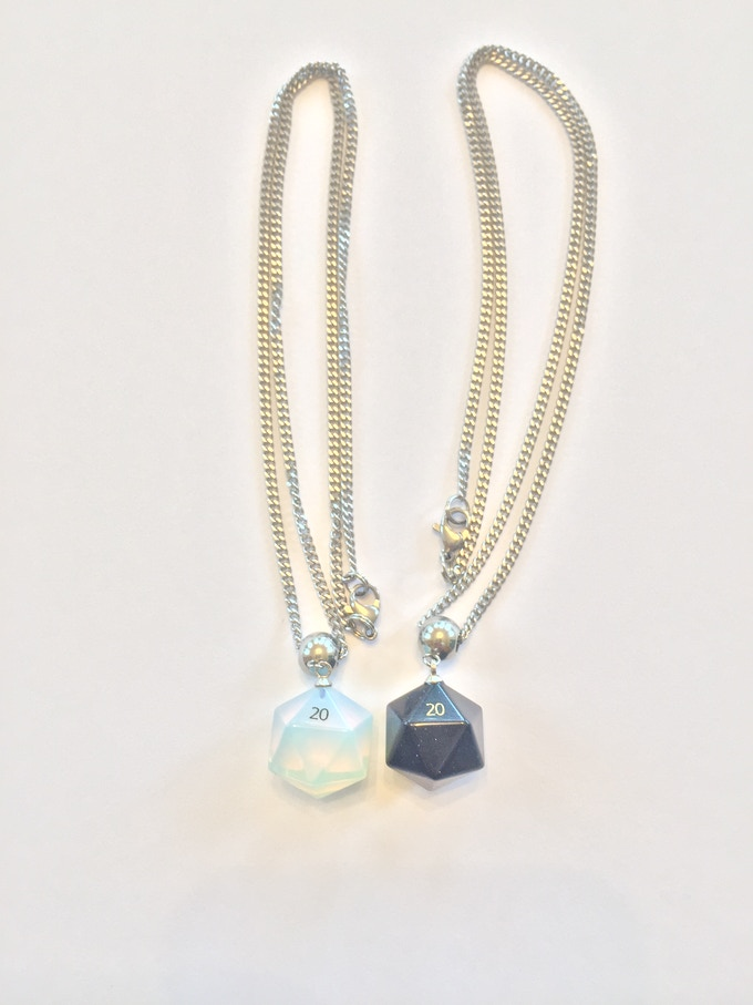 Opalite and Blue Sandstone Necklaces on 18 inch stainless steel chain