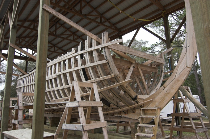 ship frame made of oak