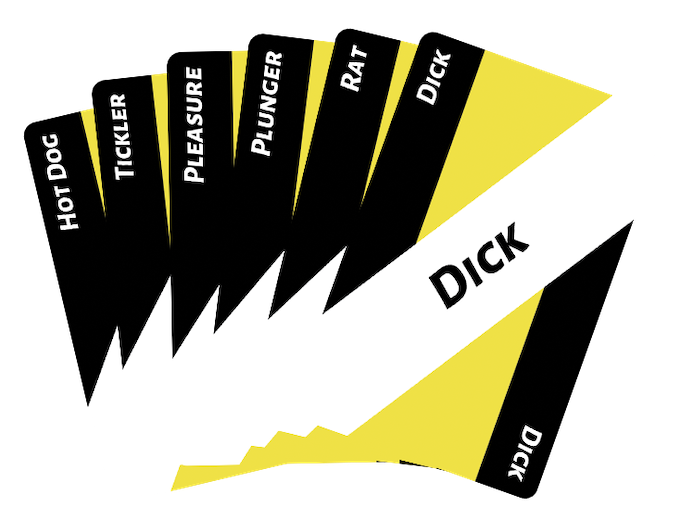 Each card contains a single word. You can combine any two of these cards to create a product.