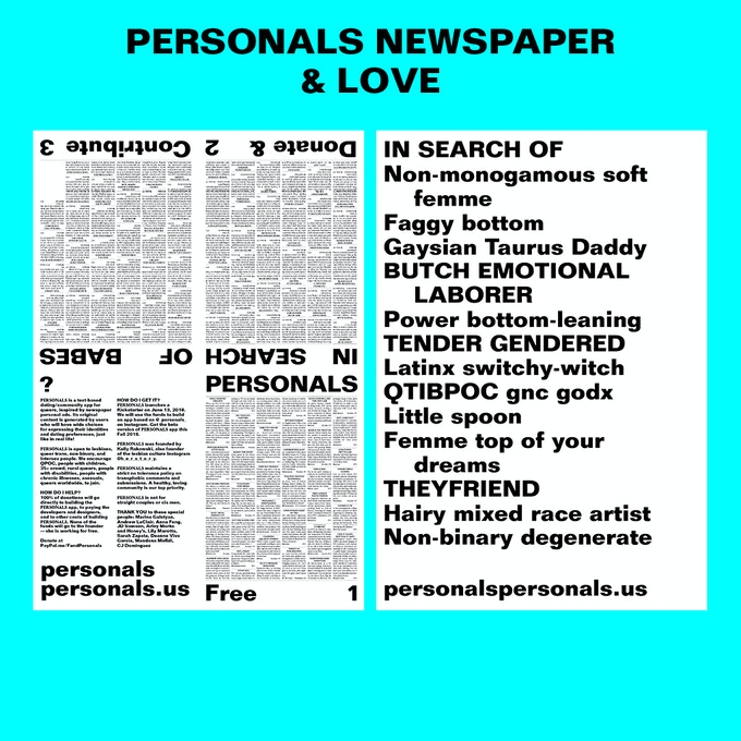 PERSONALS NEWSPAPER & LOVE $100 or more