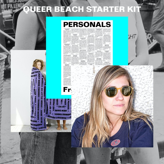 QUEER BEACH TOWEL + NEWSPAPER + PIN $400 or more