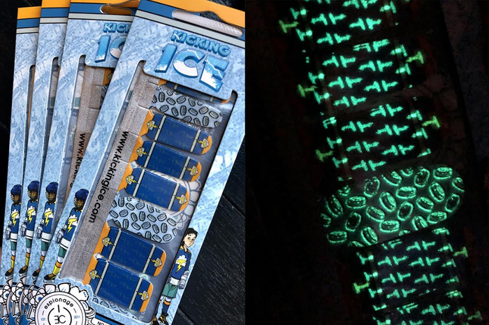 Right image shows the glow-in-the dark feature of the wraps.