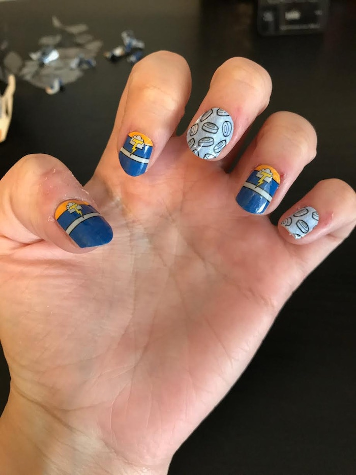 Kicking Ice nail wraps applied. (Sorry, I pick at my nails!)