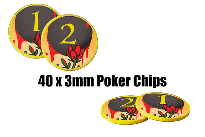 The cardboard tokens are replaced with 8 poker chips showing 1 Crowd Support on one side and 2 Crowd Support on the other.