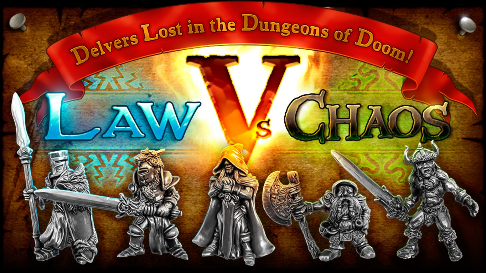 Delvers Lost in the Dungeons of Doom 5: Law Vs Chaos. Heroic miniatures sculpted by hand and cast in metal for RPGs and Tabletop Games.