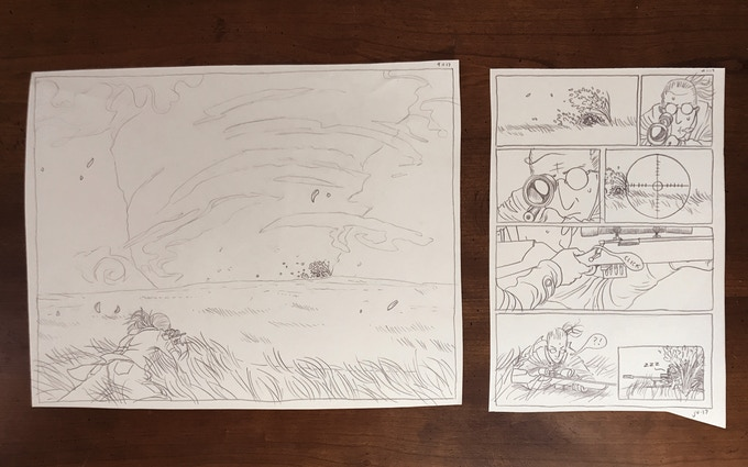 "John Vestevich Original Pages Pack - The originals for the 3 page story ""Showdown"" from our anthology ""Misadventure"""