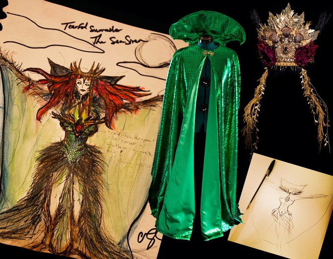 Siren costume concept drawings and hand made wardrobe!