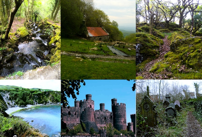 Top row: images taken at the property in Beddgelert, Bottom row, L-R, images of Pembroke Coast & other possible locations in Wales!