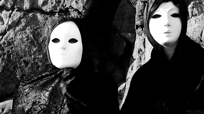 Still from pre-production teaser, Masked Characters at the beach