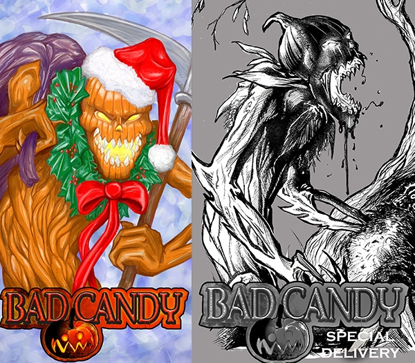 Bad Candy Christmas card and ashcan cover.