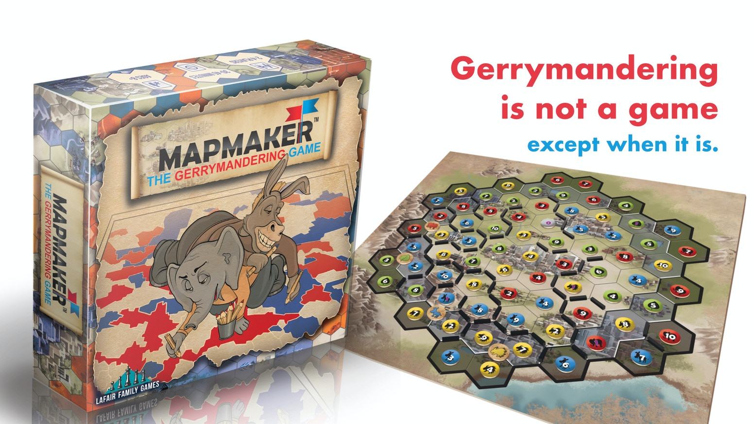 Gerrymandering is not a game... except when it is. 1-4 players take turns drawing districts in 30-45 minutes.