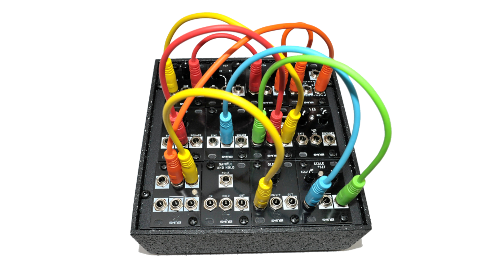 A complete analog synthesizer with the smallest modular synthesizer format.