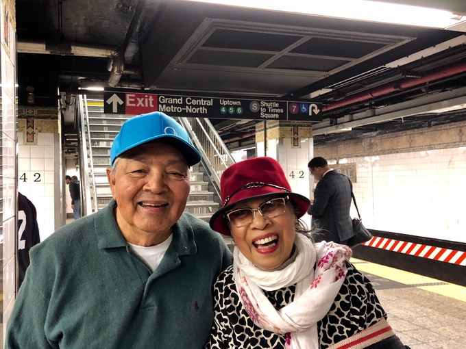Lolo and Lola now (riding the subway for the first time in 2018)