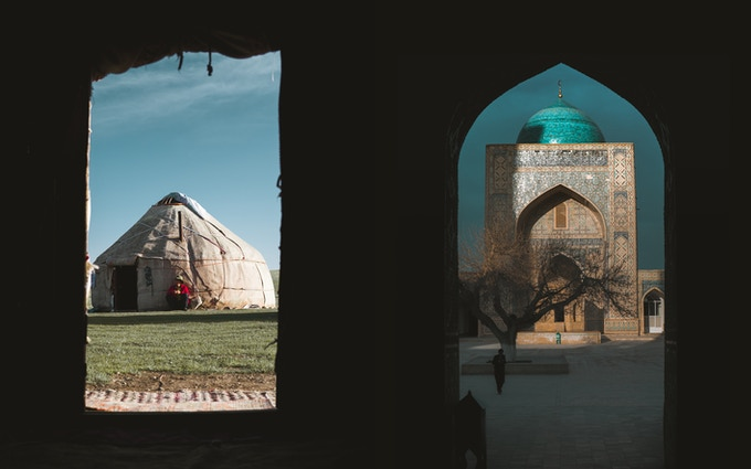 A five week old Yurt in the inner alpine of Kyrgyzstan / The 500 year old Kalan Mosque in Bukhara