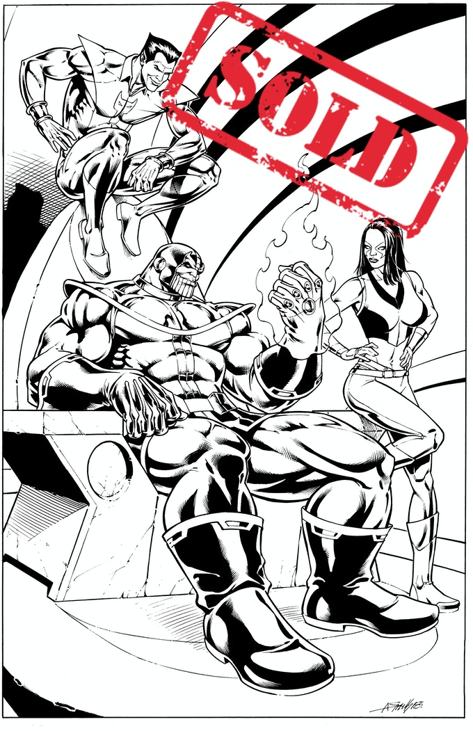 Thanos, Starfox, and Gamora by Andy Smith - Part 2 of Jim Starlin Legacy Project (SOLD)