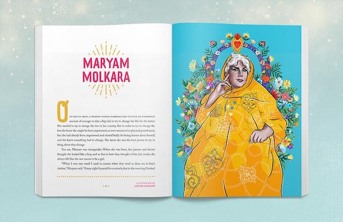 Sample book spread of Maryam Molkara. Illustration by Justine Lecouffe.