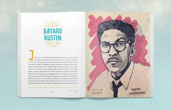Sample book spread of Bayard Rustin. Illustration by Sr. X.
