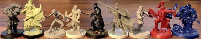 Space Marine (Warhammer 40K), Warrior (Rising Sun), Vampire (Solomon Kane), Conan (Conan), Solomon Kane (Solomon Kane), Leonidas (Mythic Battles), Bandit (Solomon Kane), Khorne Warrior and Stormcast Eternals (Shadespire)