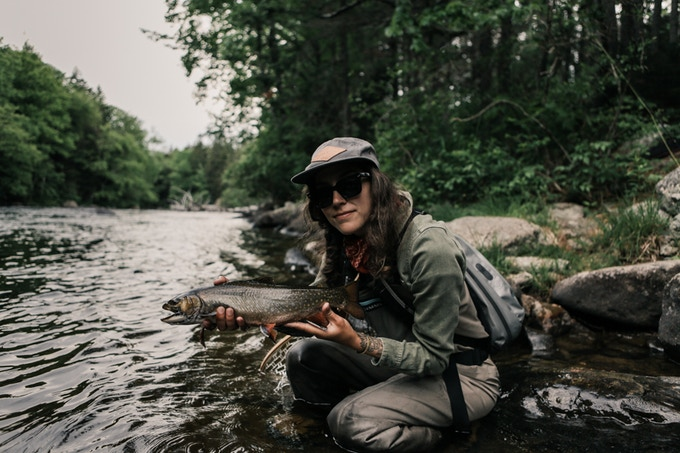 Aimee with a nice Brookie in Maine