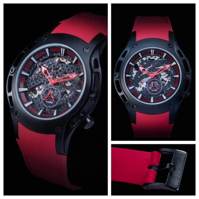 SV 3 - Black DLC, red hands with optional red rubber strap