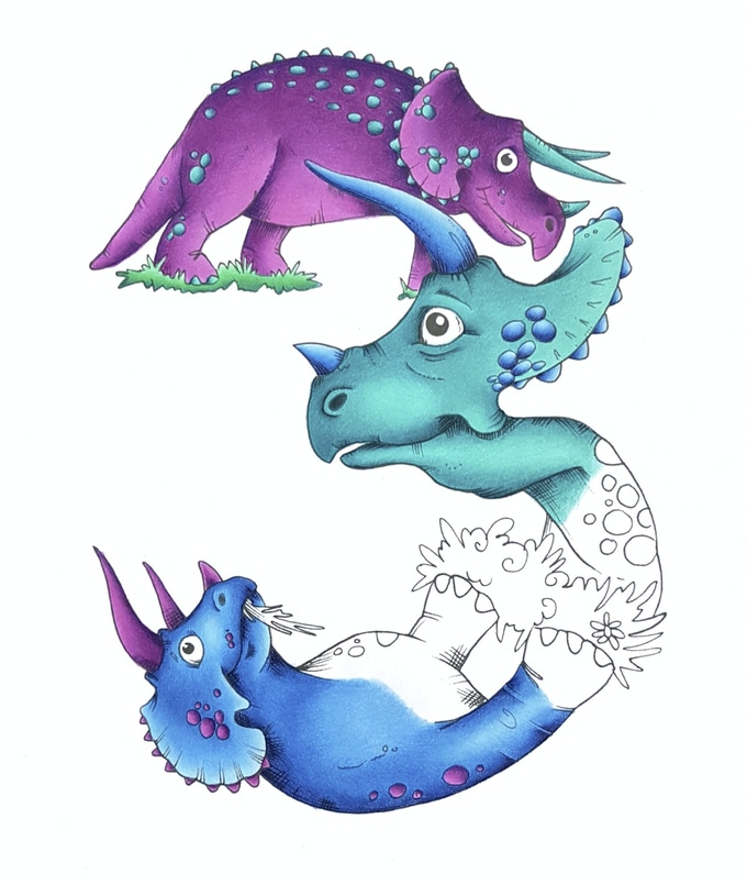 Number 3 from the Dinosaur series of numbers (part coloured example)