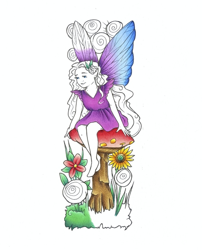 Number 1 from the Fairy series of numbers (part coloured example)