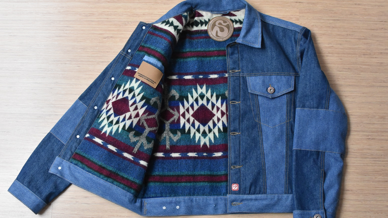 ed40bddfa7 Custom jacket handmade in Ecuador with the purpose to reduce textile waste  while empowering women in