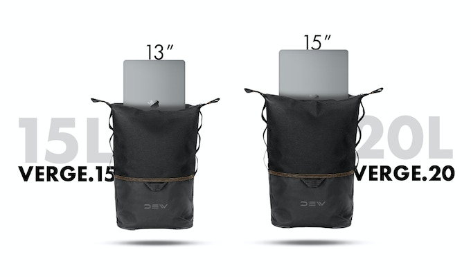 "Available in 2 sizes. Verge.15 fits a 13"" laptop. Verge.20 fits a 15"" laptop."