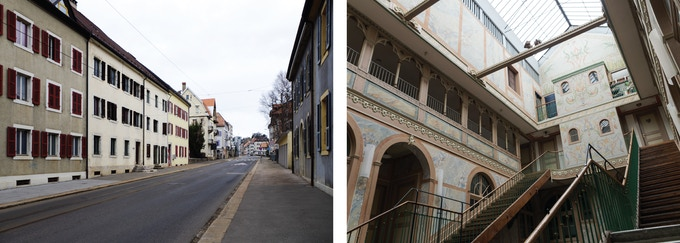 "Left: du Manège street // Right: ""L'Ancien Manège"""